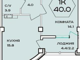 Продажа квартир: 1-комнатная квартира, Краснодар, ул. им 40-летия Победы, 97, фото 1
