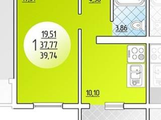 Продажа квартир: 1-комнатная квартира в новостройке, Краснодар, Черкасская ул., 62/1, фото 1