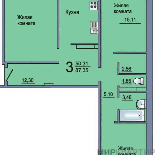 Продам квартиру в новостройке Тюменская область, Тюмень, Полевая ул., 115