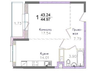 Продажа квартир: 1-комнатная квартира в новостройке, Московская область, Пушкино, 1-й Некрасовский проезд, 14, фото 1